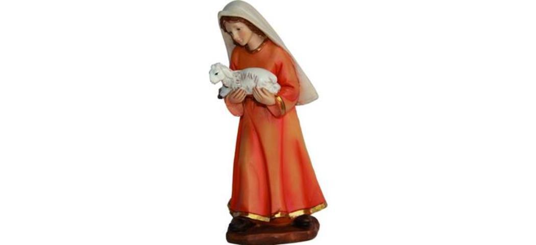 Krippenfiguren Bäuerin mit Schaf auf Arm, geeignet für 15cm Figuren (4411292)