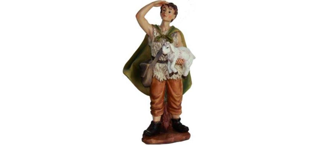 Krippenfiguren Hirte mit Schaf auf Arm, geeignet für 15cm Figuren (4411298)