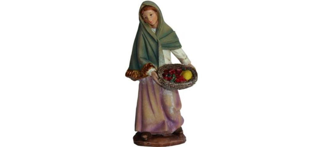 Krippenfiguren Magd mit Obstkorb, geeignet für 15cm Figuren (4411301)