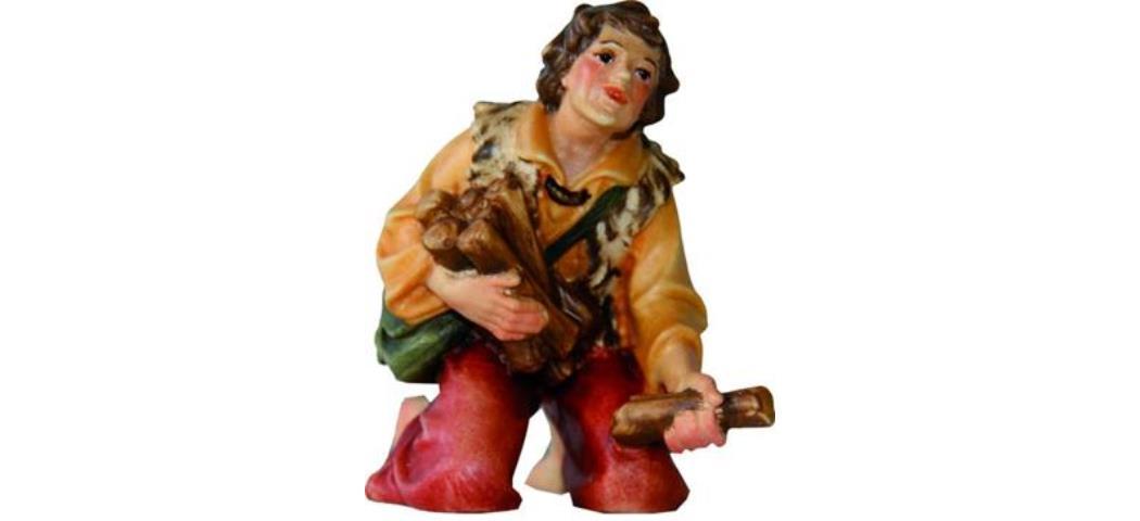 Krippenfiguren Hirte mit Holz, geeignet für 7cm Figuren, handbemalen (4411657)