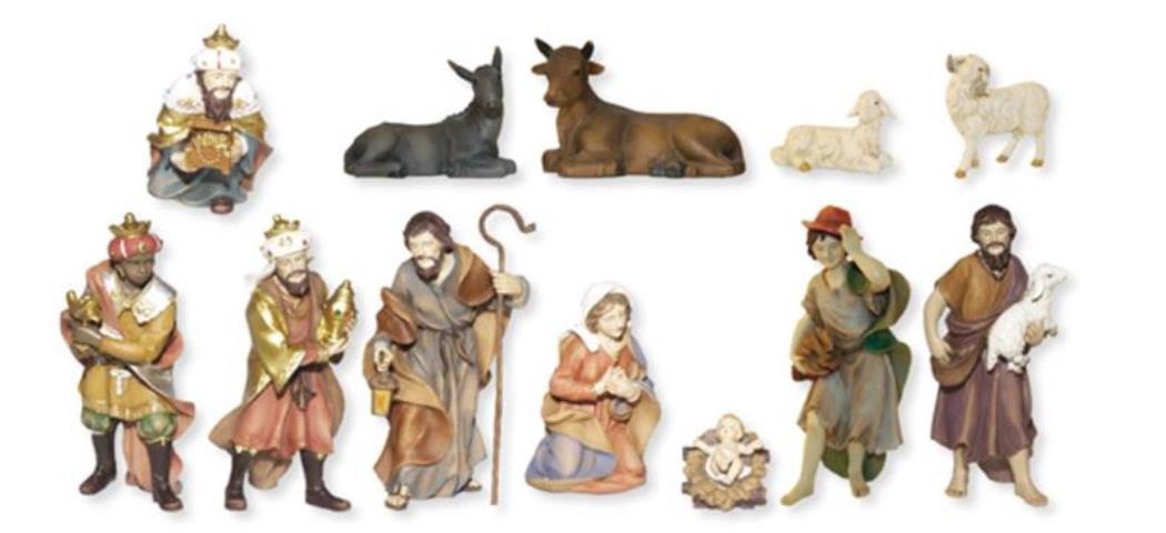 Krippenfiguren Johanneskrippe, 12tlg, für 10cm Figuren, handbemalen (4411843)
