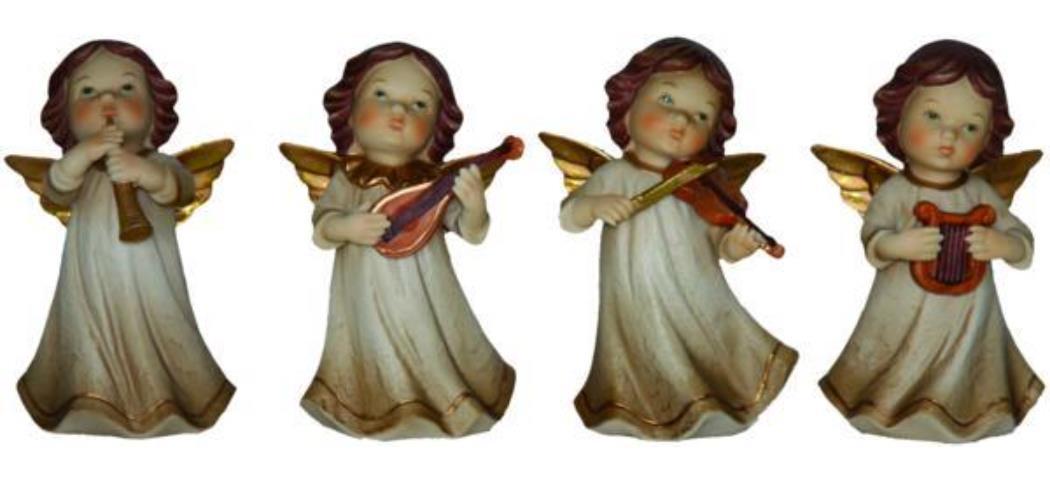 Schutzengel Engel musizierend, 4er Set, Höhe 13cm, handbemalen (44120)