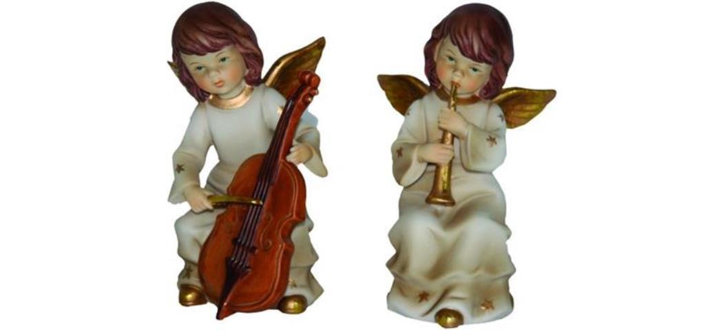 Schutzengel Engel musizierend, 2er Set, Höhe 15cm, handbemalen (44121)