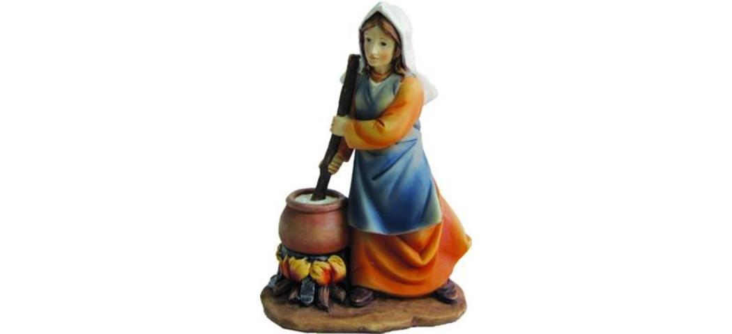 Krippenfiguren Frau am Feuer, geeignet für 11cm Figuren, handbemalen (4412683)