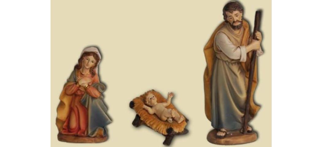 Krippenfiguren Heilige Familie 3tlg. geeignet für 15cm Figuren, handbemalen (4412686)