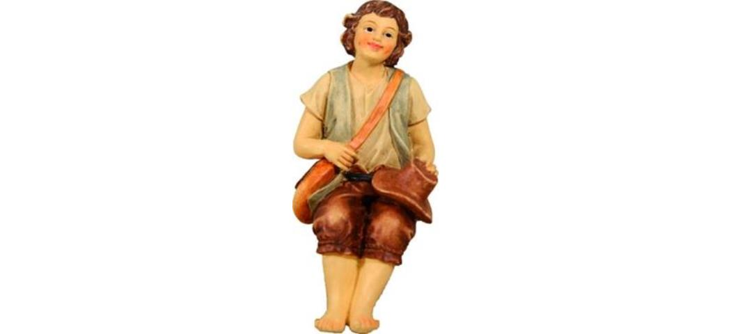 Krippenfigur Wanderer sitzend, Höhe 9cm, handbemalen (4412720)