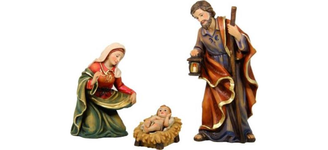 Krippenfiguren Heilige Familie, 3tlg. Höhe 19cm, handbemalen (4412722)