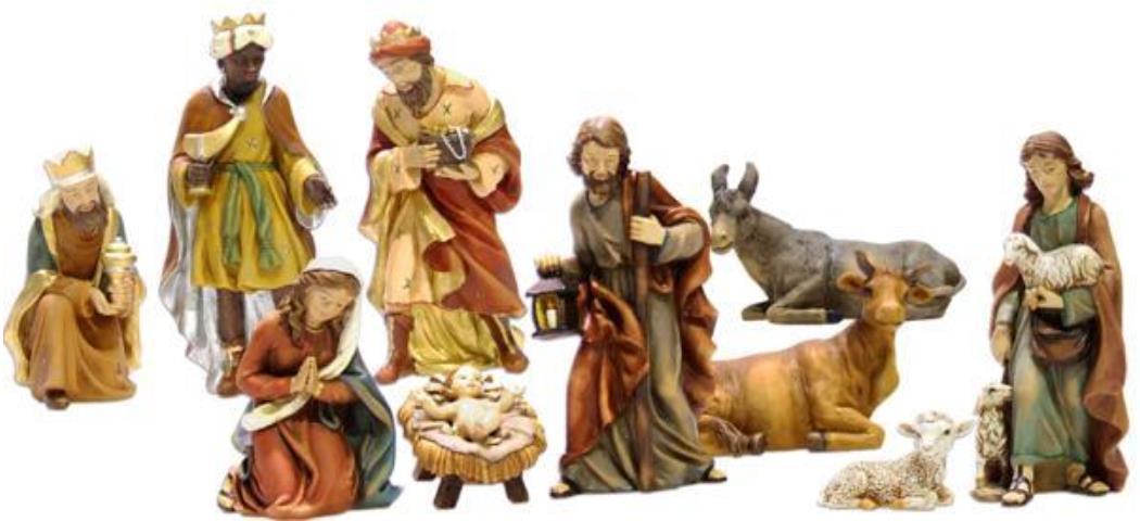 Krippenfiguren Krippenset 11tlg., geeignet für 19cm Figuren handbemalen (4412723)
