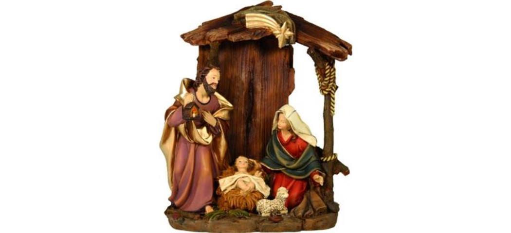Krippenblock Heilige Familie im Stall, Höhe 22cm, handbemalen (4412875)