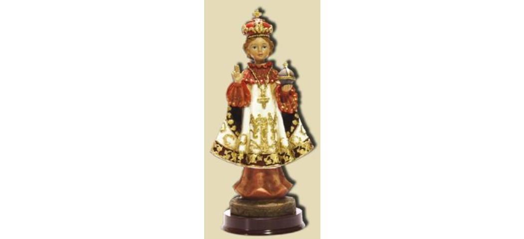 Heiligenfigur Prager Jesuskind mit weissen Umhang, Höhe 20cm (44154)