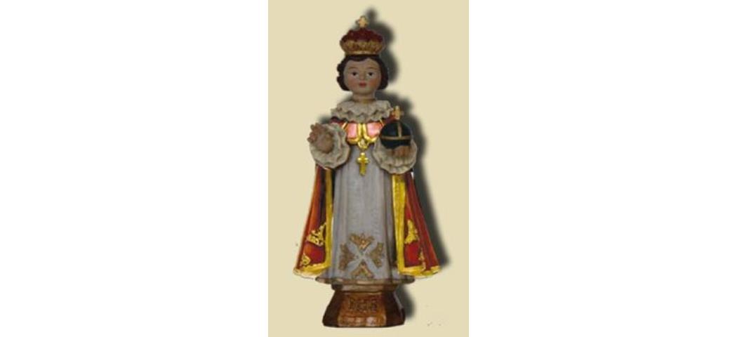 Heiligenfigur Prager Jesuskind mit roten Umhang, Höhe 21cm (44162)