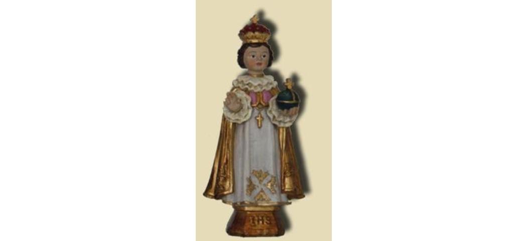 Heiligenfigur Prager Jesuskind mit goldenen Umhang, Höhe 11cm (44165)