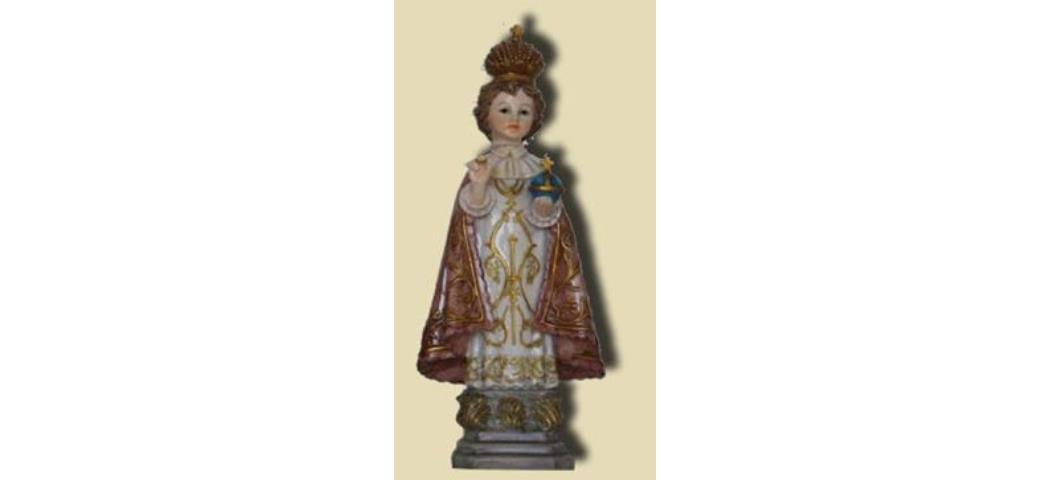 Heiligenfigur Prager Jesuskind mit roten Umhang, Höhe 32cm (44168)