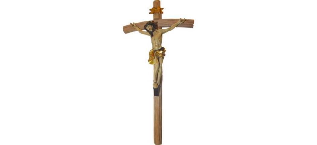 Kreuz Kruzifix in gold, Höhe 35cm, handbemalen (44183)