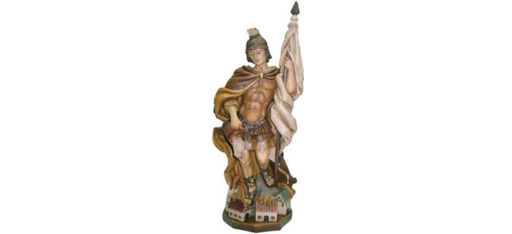 Heiligenfigur Heiliger Florian gebeizt, Höhe 28cm (44193)