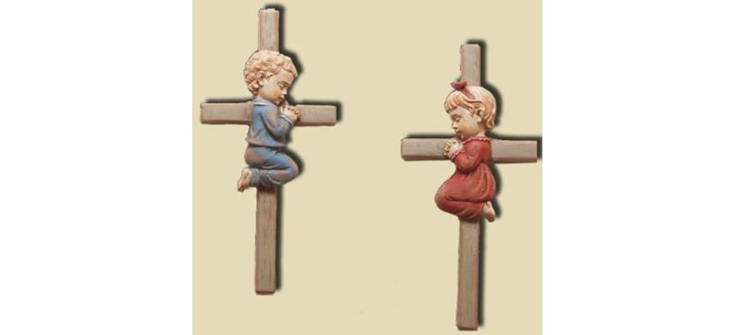Kreuz Junge und Mädchen, 2er Set, Höhe 15cm (44197)