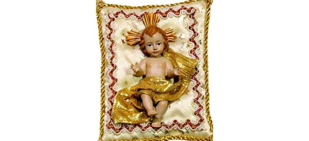 Heiligenfigur Jesuskind auf Kissen creme, 10 x 7cm (44200)