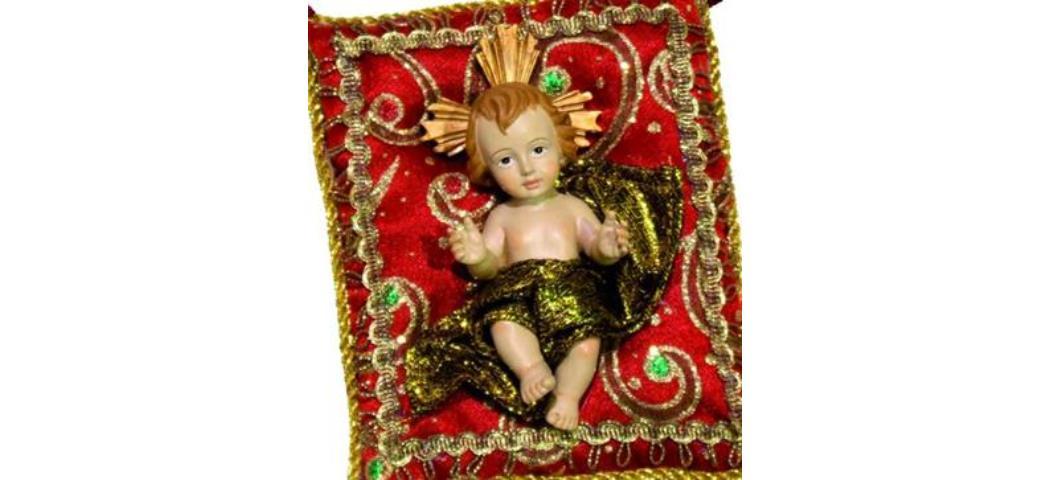 Heiligenfigur Jesuskind auf Kissen rot, 10 x 7cm (44202)
