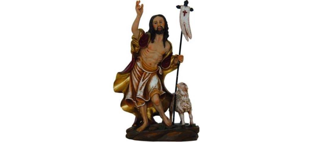 Passion Jesus Auferstehung mit Lamm, Höhe 14cm, handbemalen (44206)