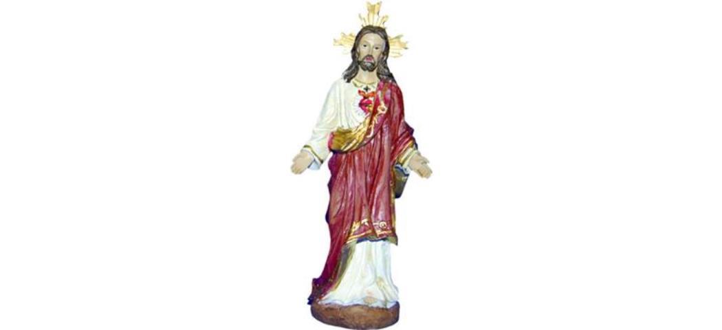 Heiligenfigur Jesus Christus mit Herz, Höhe 12cm, handbemalen (44210)