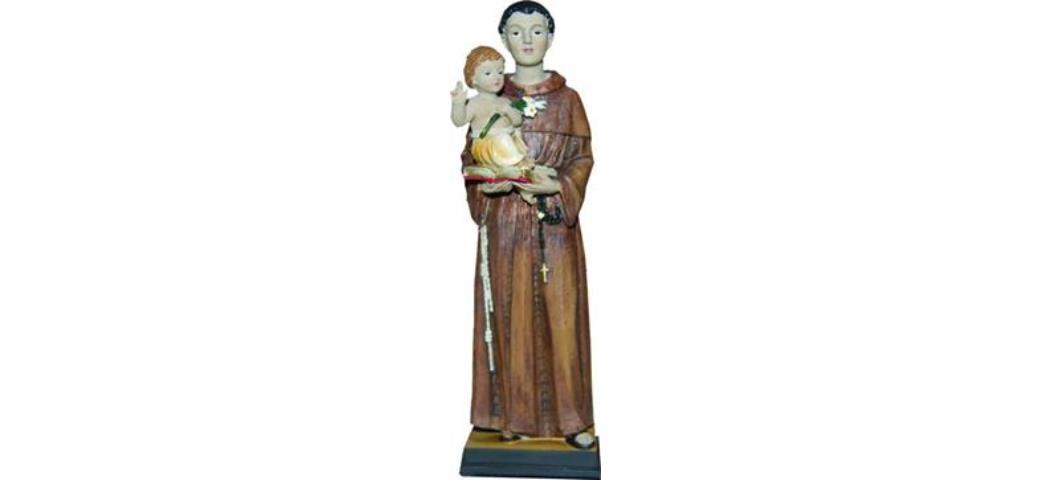 Heiligenfigur Heiliger Antonius mit Kind und Lilie, Höhe 20cm (44250)
