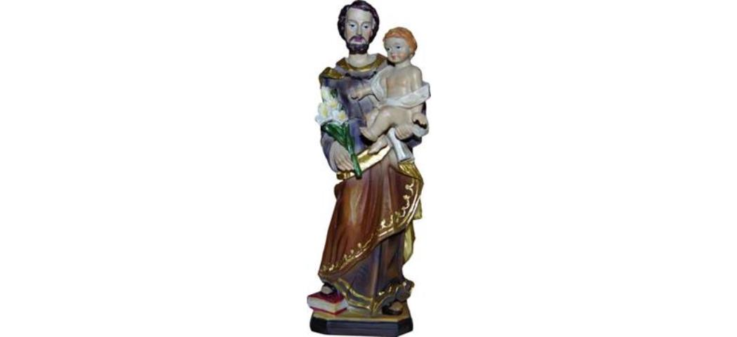 Heiligenfigur Heiliger Josef mit Kind, Höhe 20cm, handbemalen (44261)