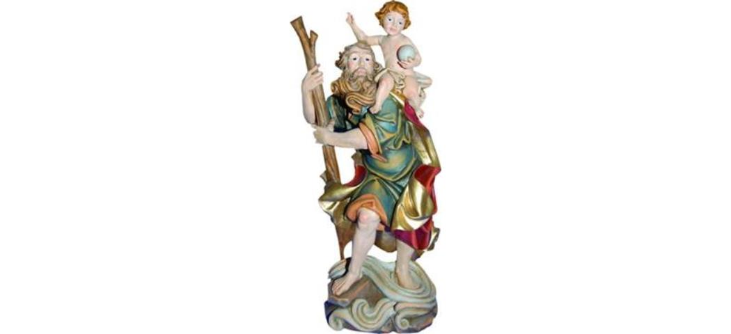 Heiligenfigur Heiliger Christophorus, Höhe 41cm, handbemalen (44269)