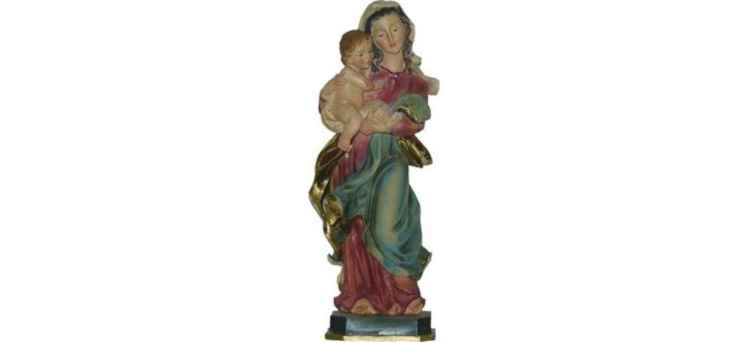 Heiligenfigur Madonna, Weidener Madonna, rot/blau, Höhe 37cm (44299)