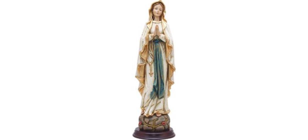 Heiligenfigur Heilige Madonna, Madonna Lourdes, Holzoptik, Höhe 30cm (44343)