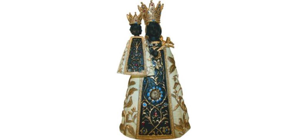 Heiligenfigur Schwarze Madonna, Höhe 9cm, handbemalen (44351)