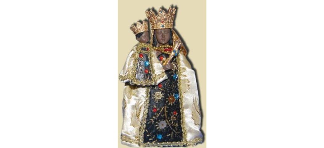 Heiligenfigur Schwarze Madonna bekleidet, Höhe 21cm, handbemalen (44353)