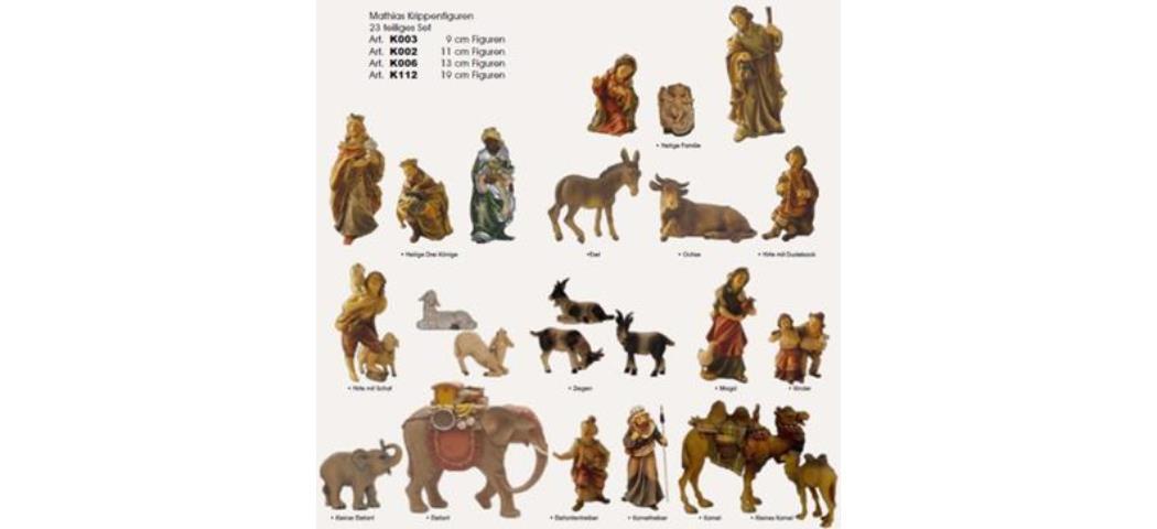 Krippenfiguren Mathias-Krippe 23tlg., geeignet für 11cm Figuren handbemalen (44615)