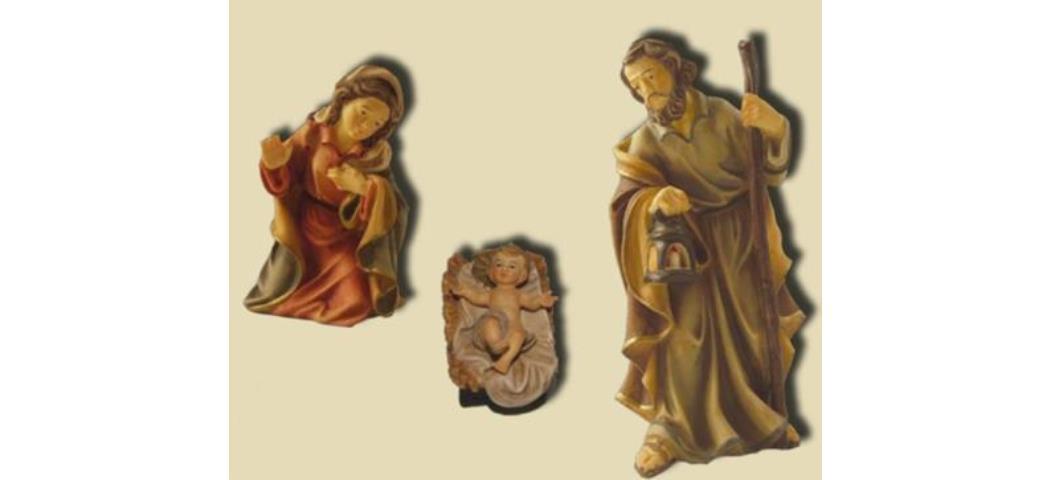 Krippenfiguren Heilige Familie 3tlg. Höhe 8,2cm geeignet für 9cm Figuren (44618)