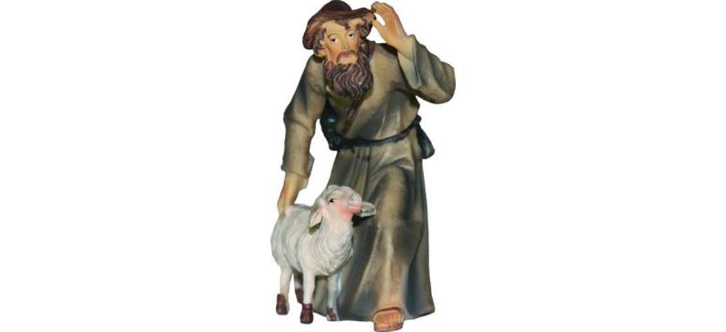 Krippenfigur Schäfer mit Schaf, geeignet für 9cm Figuren (44635)