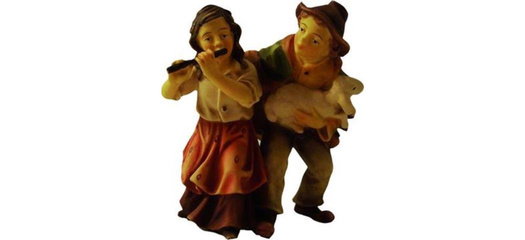 Krippenfigur Kinderpärchen, geeignet für 9cm Figuren, handbemalen (44636)