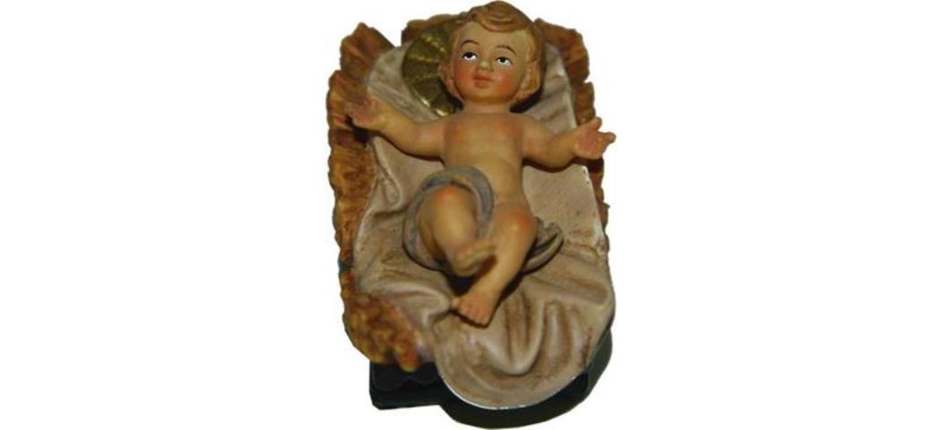 Krippenfiguren Jesuskind im Barren 2tlg. geeignet für 13cm Figuren (44644)