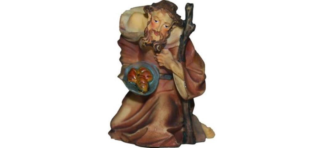 Krippenfiguren Schäfer kniend, geeignet für 7cm Figuren, handbemalen (44677)