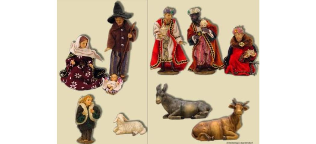 Krippenfiguren Krippe alpenländisch, 10tlg., geeignet für 17cm Figuren (44682)