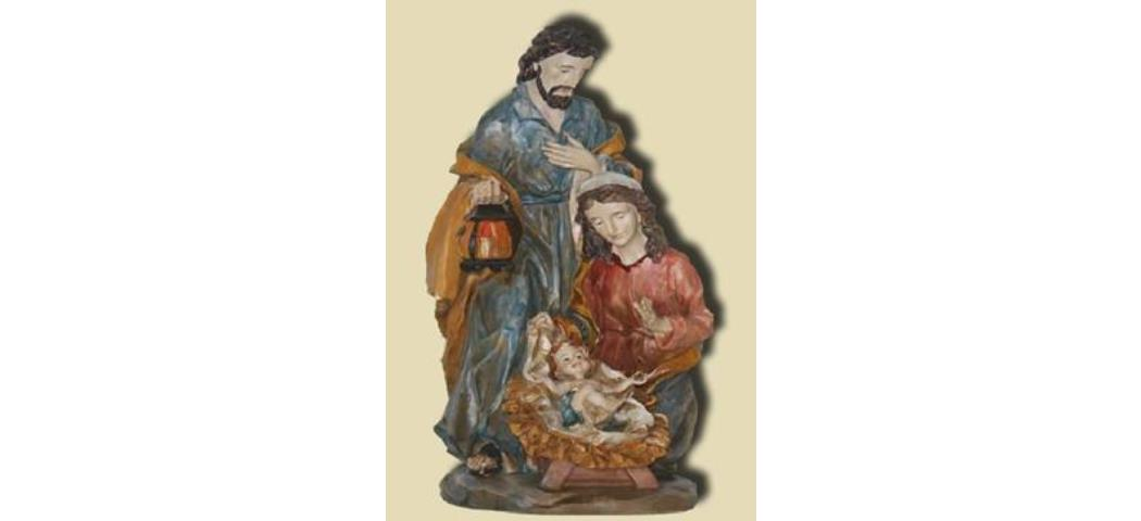 Krippenblock Heilige Familie barock, Höhe 14cm, handbemalen (44689)