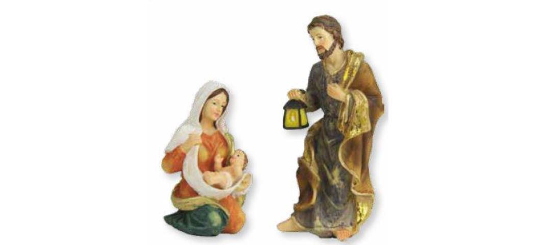 Krippenfiguren Heilige Familie 3tlg. Figurenhöhe 9cm, handbemalen (44694)