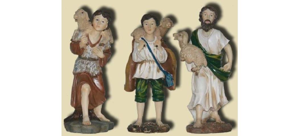Krippenfiguren Schäfer 3tlg., geeignet für 30cm Figuren hanbemalen (44699)