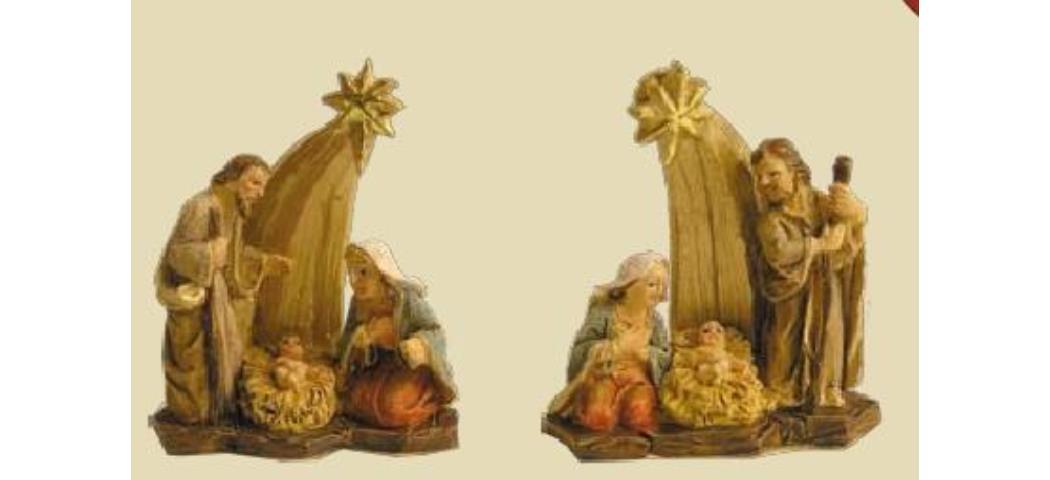 Krippenblock Heilige Familie 2tlg., Höhe 4cm, handbemalen (44716)