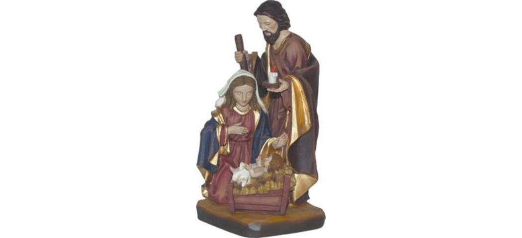 Krippenblock Heilige Familie, Höhe 14cm, handbemalen (44726)