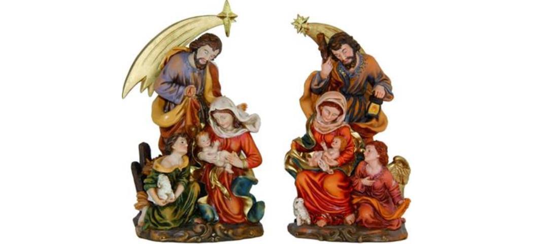 Krippenblock Heilige Familie, 2tlg., Höhe 23cm, handbemalen (44731)