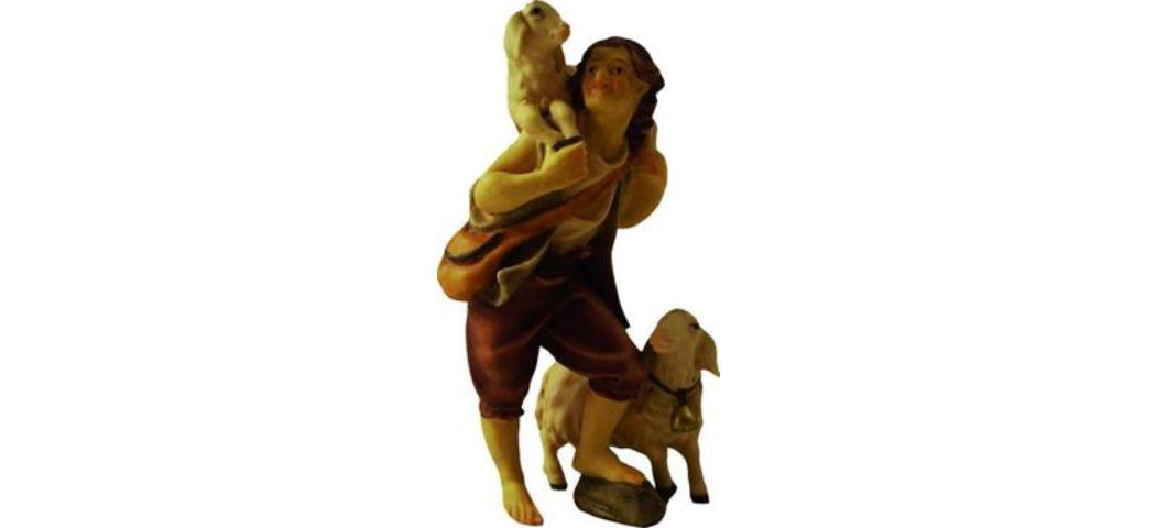 Krippenfiguren Hirte mit Schafe Höhe 14,1cm , geeignet für 15cm Figuren (44747)