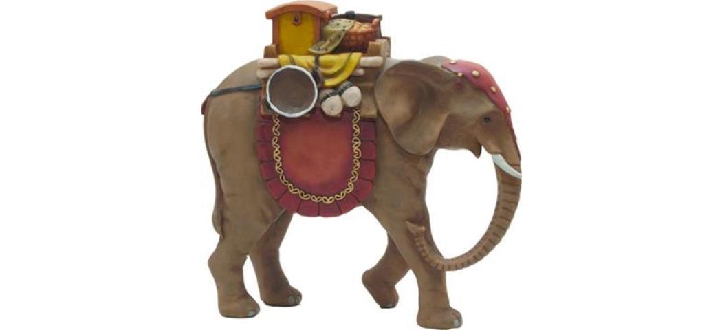 Krippenfiguren Elefant Höhe 17cm, geeignet für 15cm Figuren, handbemalen (44750)