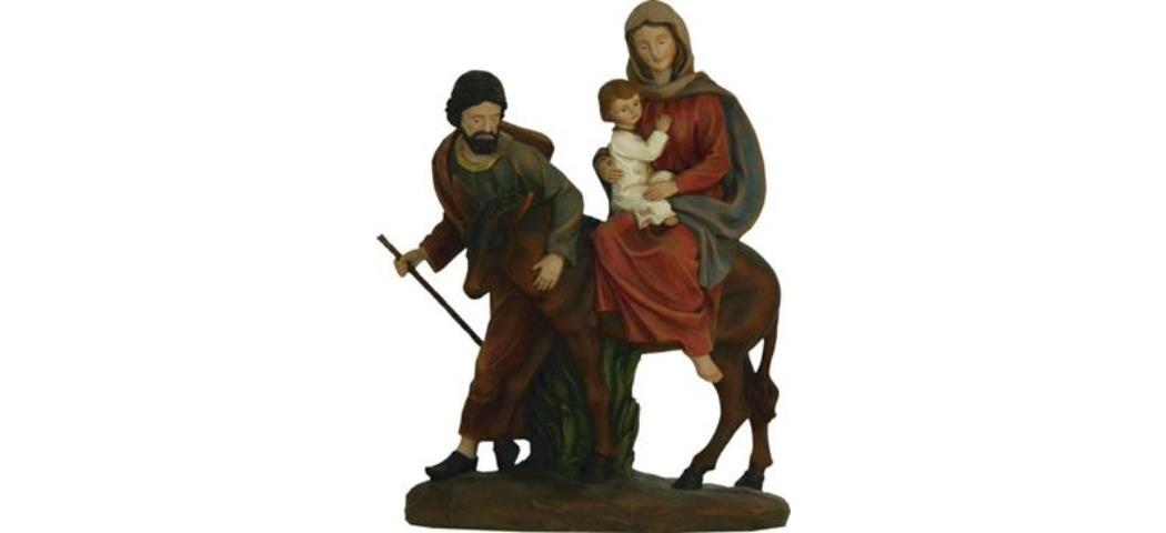 Krippenblock Heilige Familie auf der Flucht, Höhe 12cm, handbemalen (44762)
