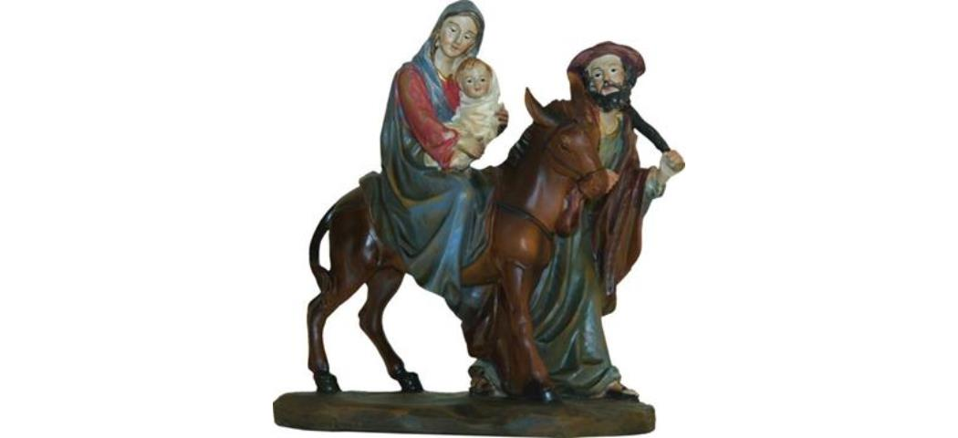 Krippenblock Heilige Familie auf der Flucht, Höhe 15cm, handbemalen (44763)