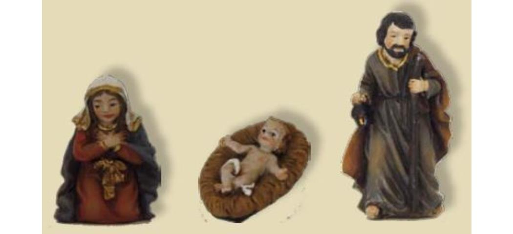 Krippenfiguren Heilige Familie 3tlg. für 3,5cm Figuren, handbemalen (44773)