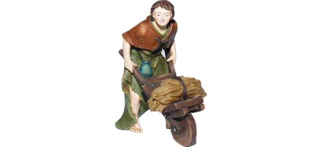 Krippenfiguren Bauer mit Schubkarre für 12cm Figuren, handbemalen (44788)
